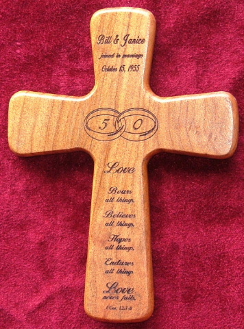 Laser engraved wedding wall cross in Texas Mesquite